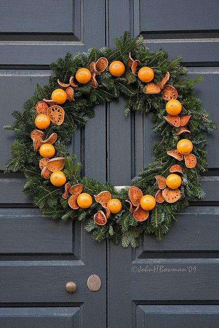 citrus and evergreen wreath for outdoors