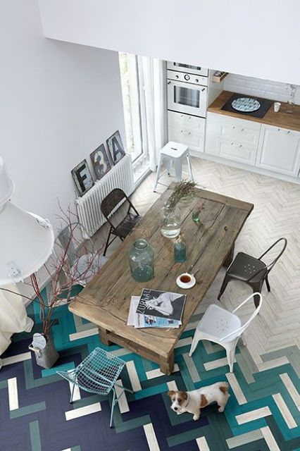 colorful wooden floor mosaic in the shades of blue and green
