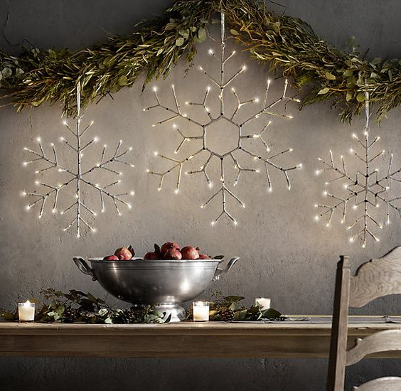light birch snowflakes will easily create a mood