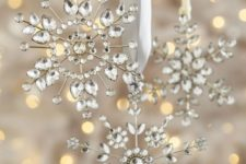 16 metal and crystal snowflake ornaments