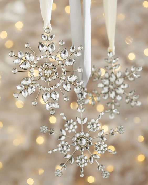 metal and crystal snowflake ornaments