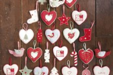 17 red and white felt ornament Christmas tree wall hanging