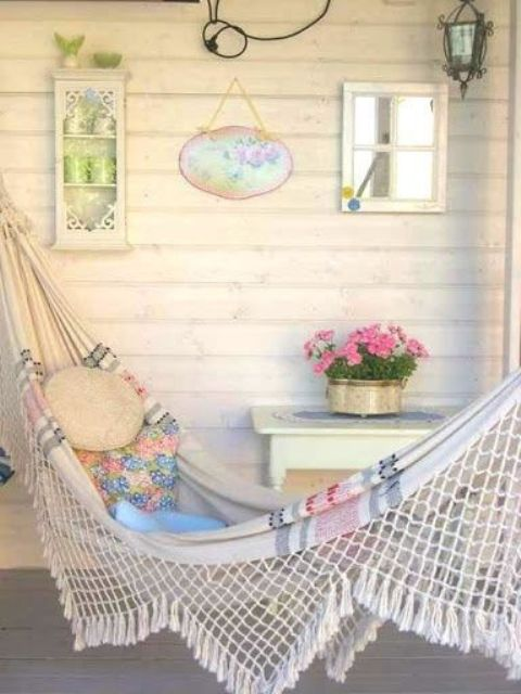 shabby chic striped hammock with pastel pillows