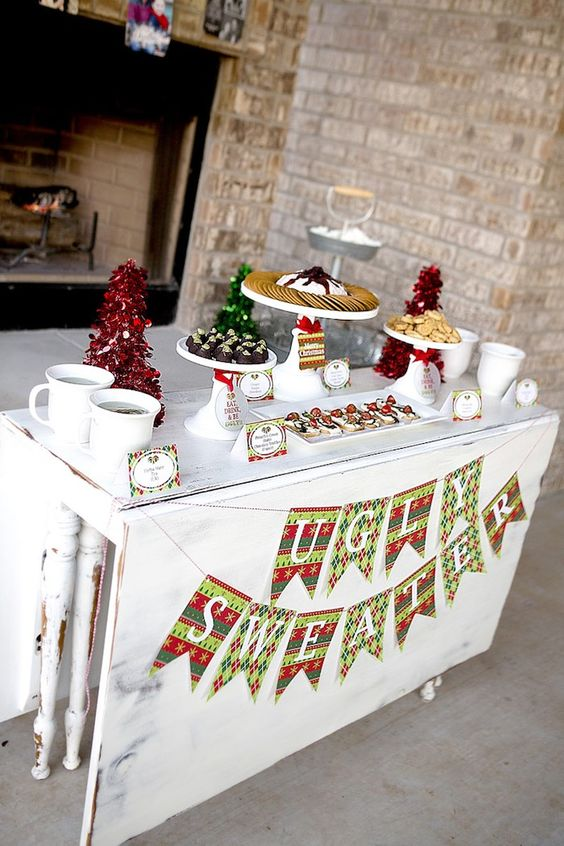 snack table at an ugly sweater party
