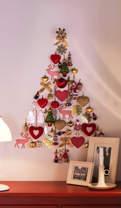 ornaments on the wall that form a tree
