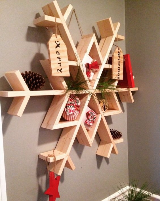 oversized wooden snowflake used as a storage piece