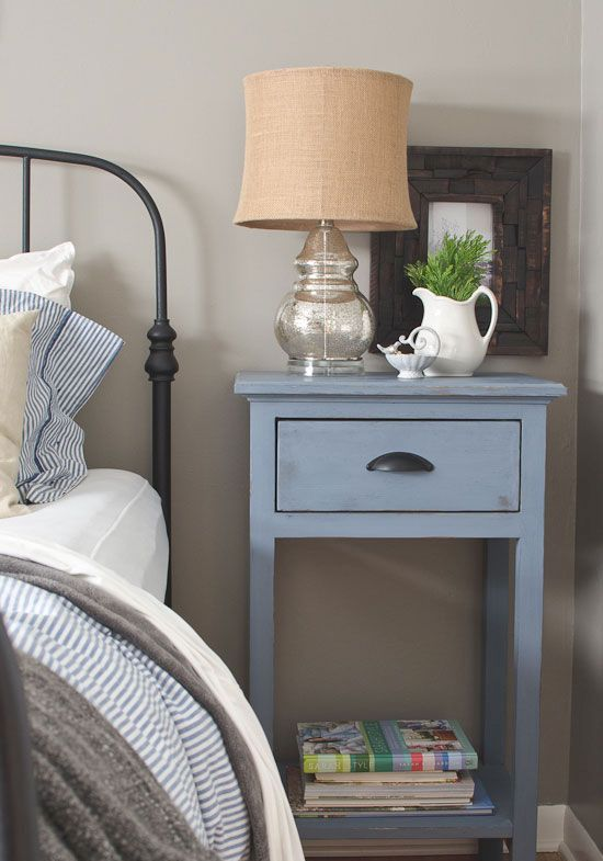 blue rustic nightstand with a drawer