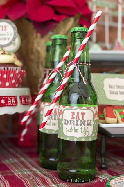 drink bottles with appropriate labels - Ugly Christmas Sweater Party Decorations