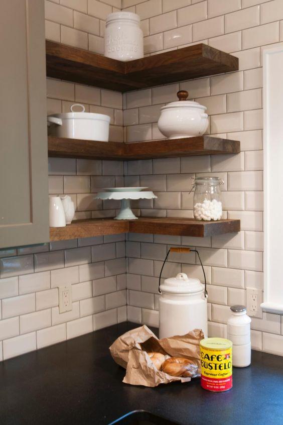 floating wood corner shelves