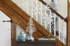 19 paint stick snowflakes for stairs decor