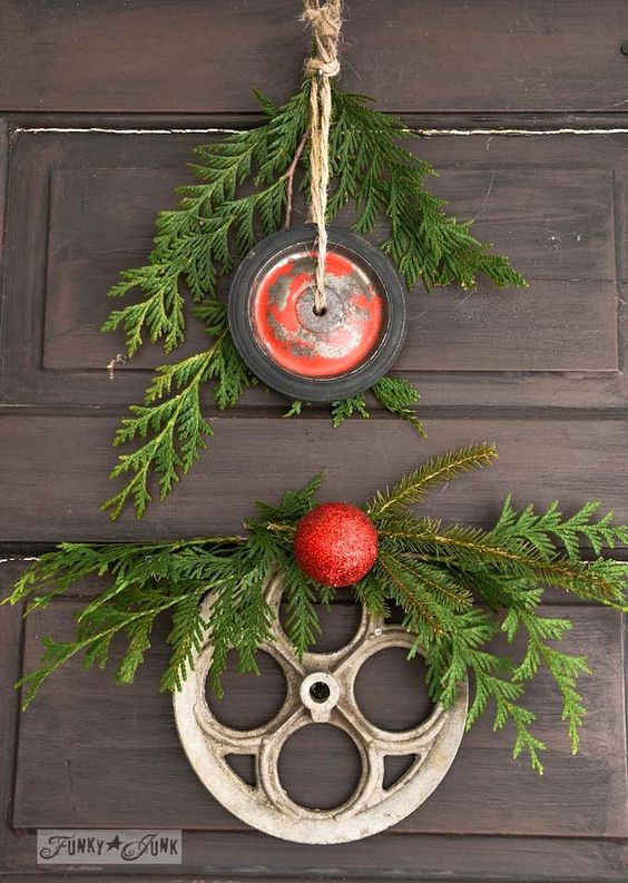 red wagon wheel and wash-line wheel for junk wreaths