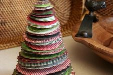 19 tabletop Christmas tree made of cards