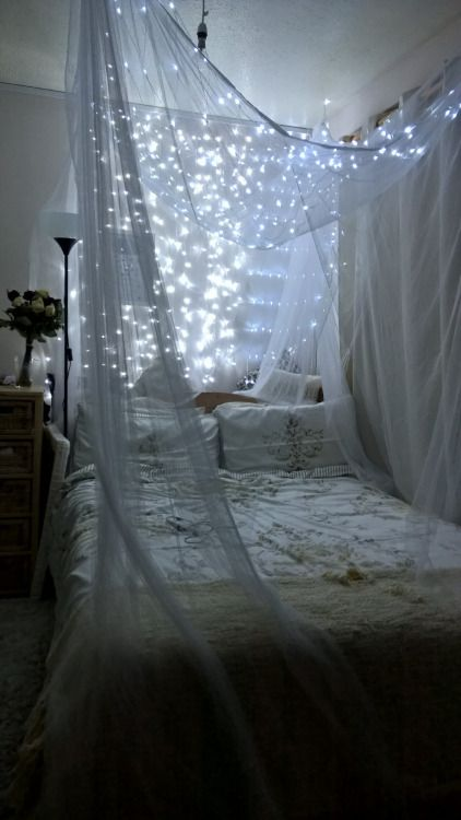tulle canopy with silver lights