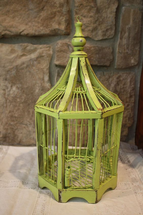 vintage lime green bird cage