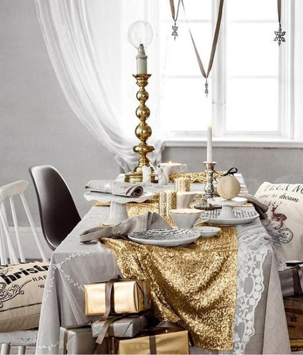 gold sequin table runner for a holiday sparkle