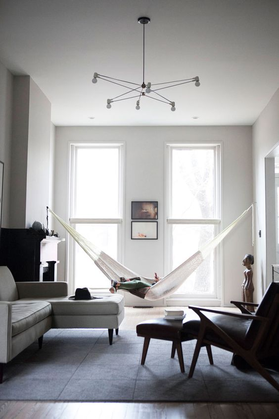 just hang a hammock in any room you want to add a relaxing vibe