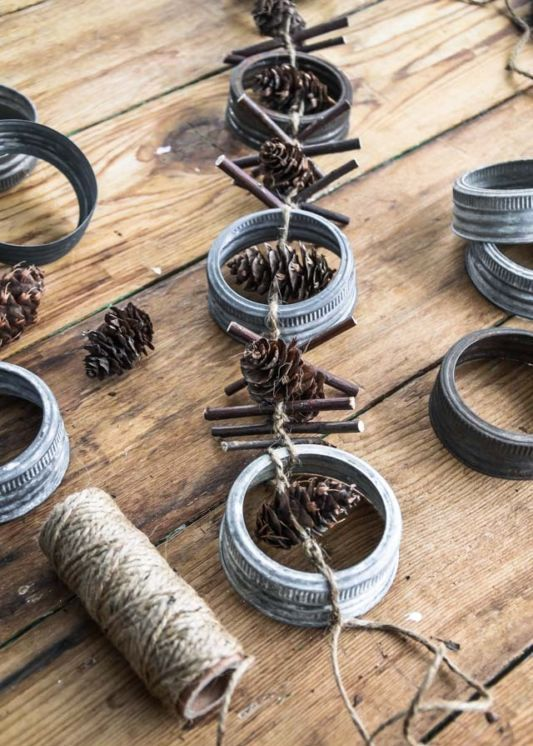 rim, pinecones and twig garland