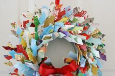 20 upcycled Christmas card wreath with red ribbon