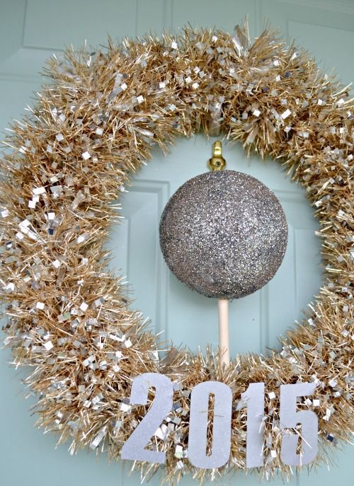 metallic gold wreath and a large silver ball