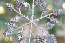 21 pinecone snowflake ornament