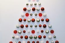 21 red, gold and white Christmas ornament tree