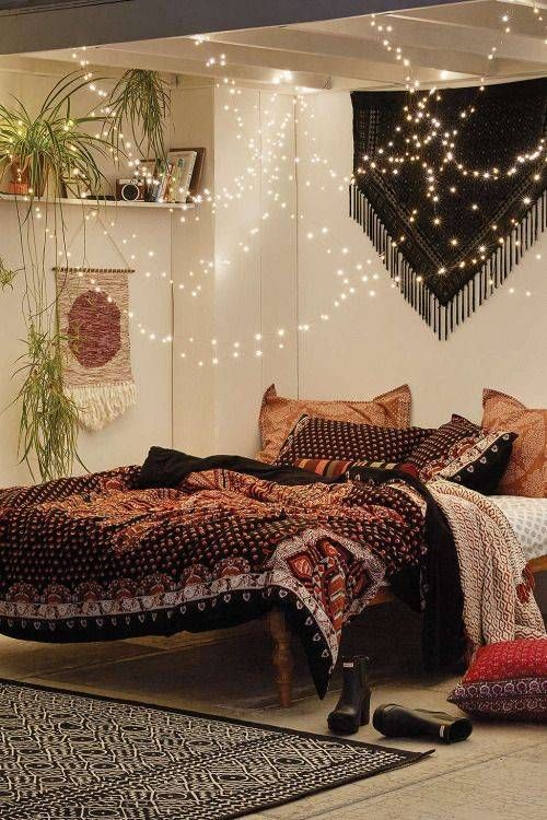 string lights over the bed look cool