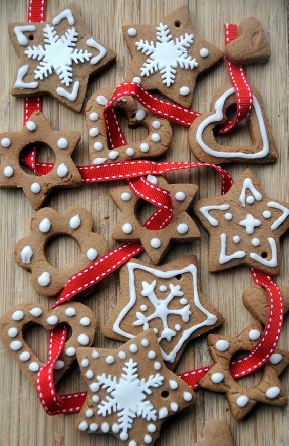 frosted gingerbread cookies to hang on ribbon and make a garland