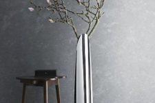 22 mirror floor vase with fresh blooms