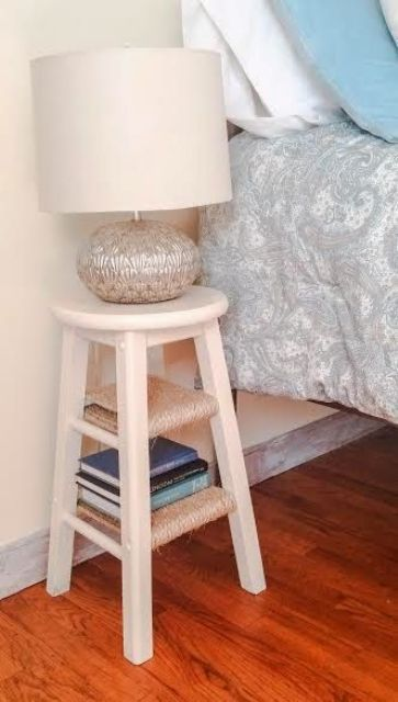 Stool Bedside Table: 27 Tiny Nightstands For Small Bedrooms