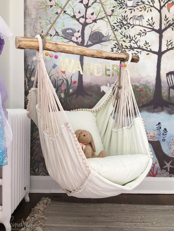 blush hammock chair is ideal for a girl's nursery