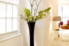 23 modern black floor vase with greenery and branches
