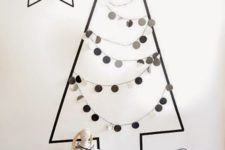 23 monochrome washi tape tree with paper garlands