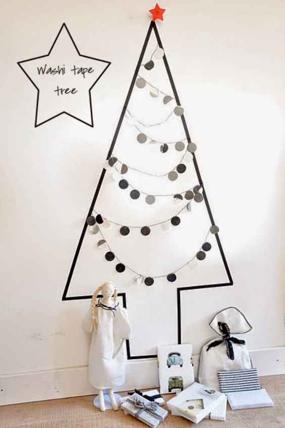monochrome washi tape tree with paper garlands