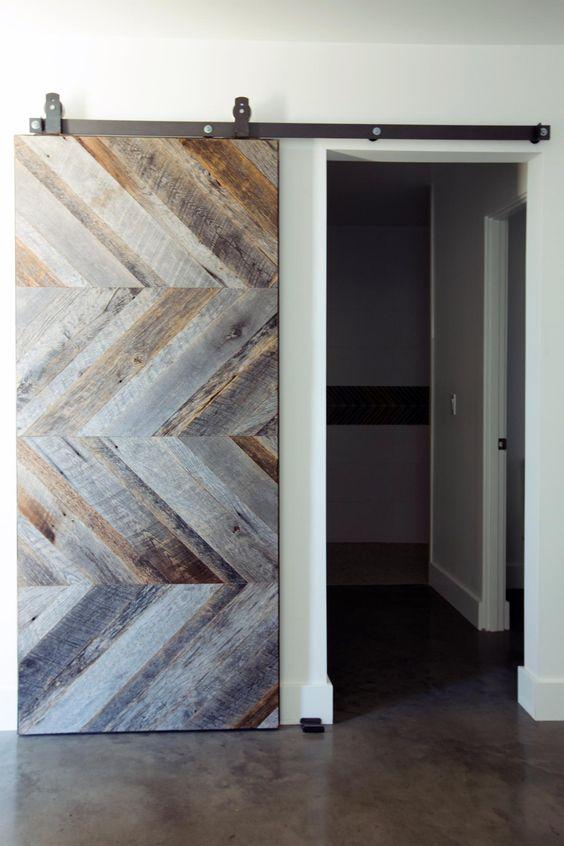 reclaimed wood chevron sliding door