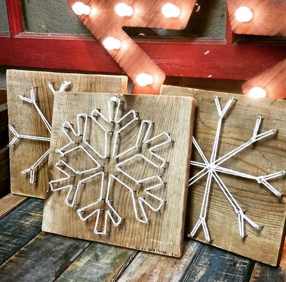 snowflake string artworks for holiday decor