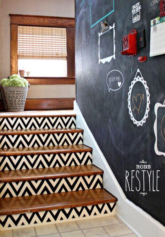 black and white chevron steps