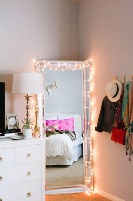 string lights on the mirror to help you get dressed