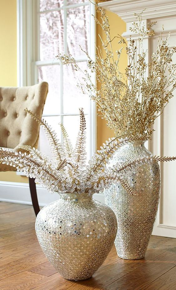 Silver Mosaic Vases With Crystal Branches