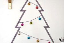 25 washi tape Christmas tree and ornaments on strings