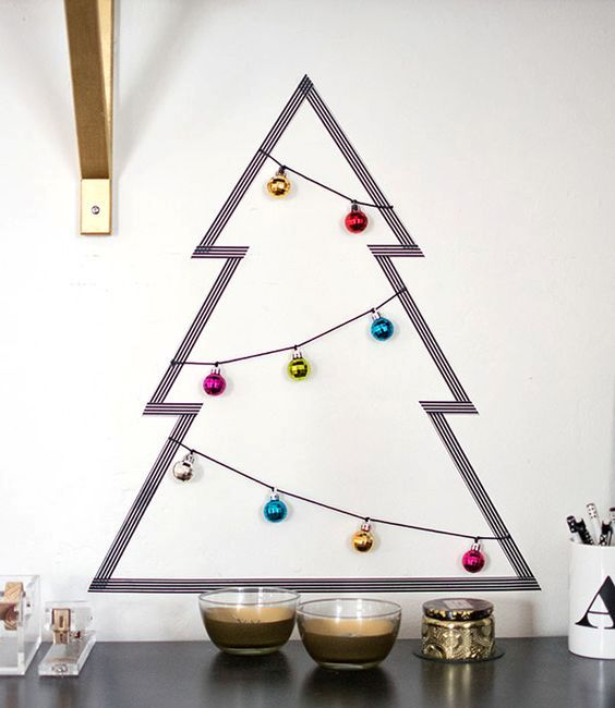 washi tape Christmas tree and ornaments on strings