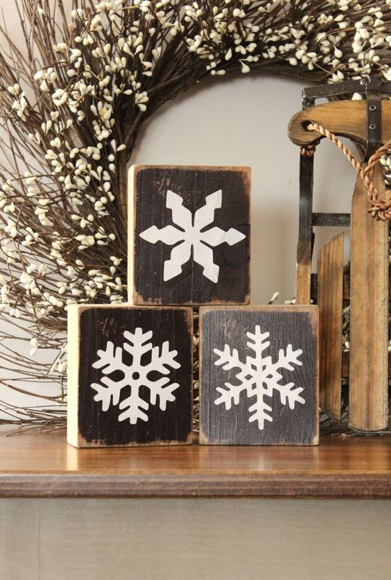 wooden blocks with snowflake decor