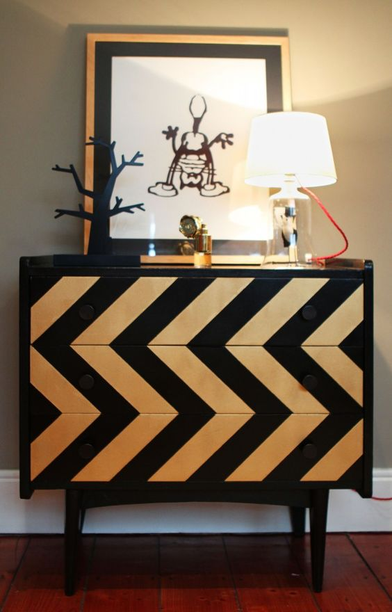 eye-catchy chevron chest of drawers you can DIY