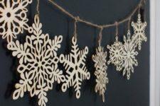 27 wooden snowflake garland