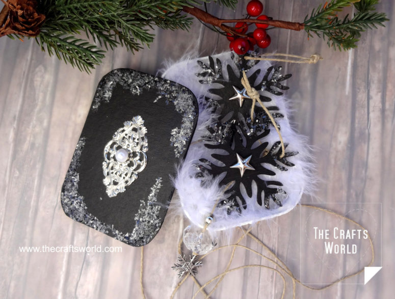 DIY crystal and snowflake ornaments in tins (via thecraftsworld.com)