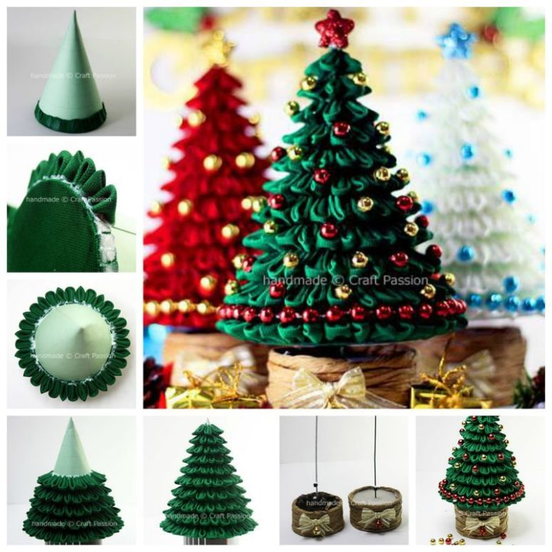 DIY Kanzashi ribbon Christmas trees (via www.icreativeideas.com)