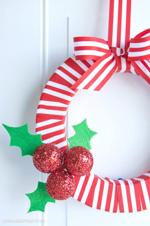 DIY holly berry Christmas wreath (via www.polkadotchair.com)