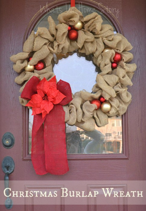 DIY Christmas burlap ribbon wreath with ornaments (via whatsurhomestory.com)