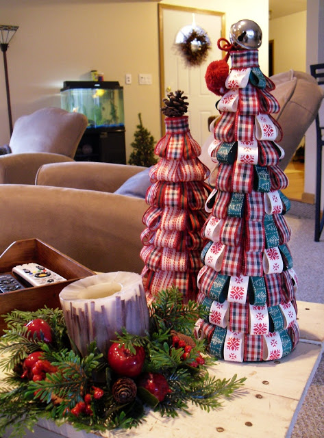 DIY cone ribbon tabletop trees (via www.flightofthepook.com)
