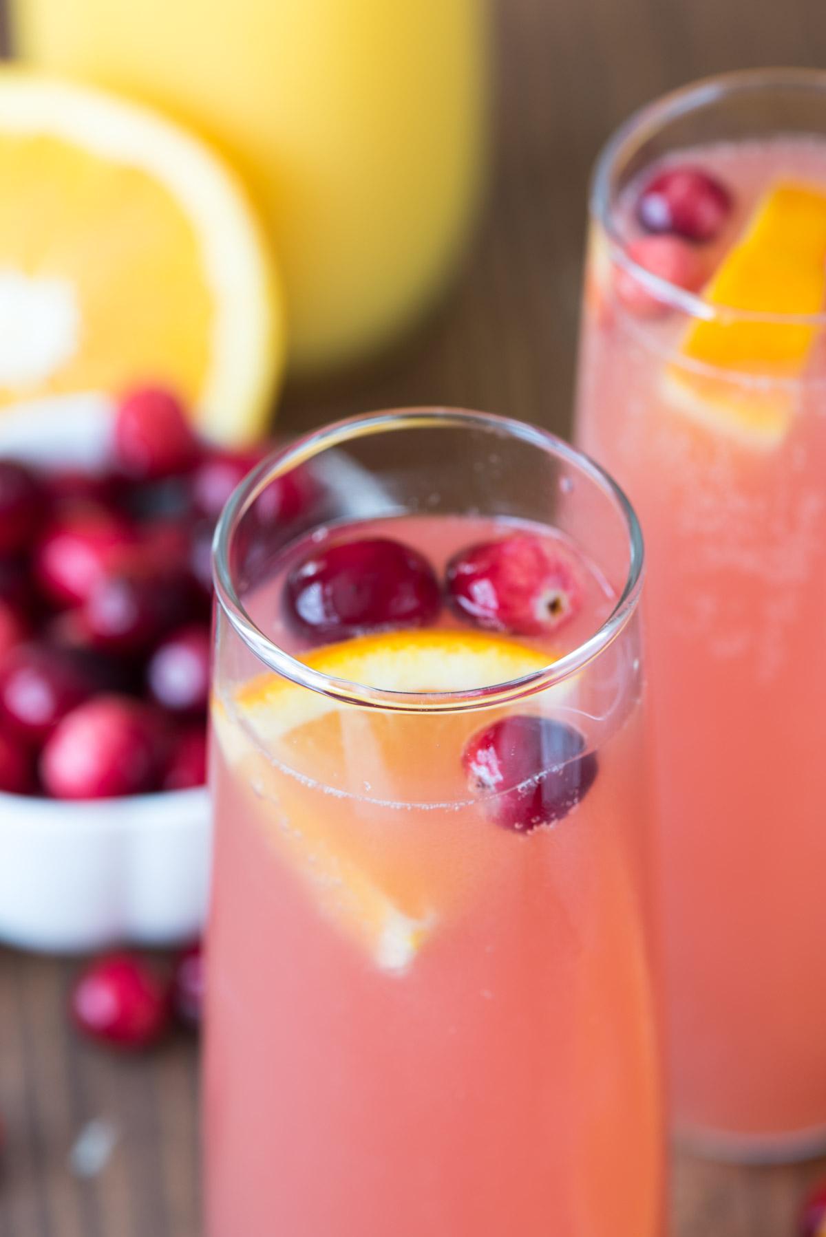 DIY cranberry orange mimosa bellini