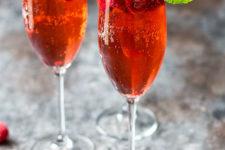 DIY raspberry champagne rum punch